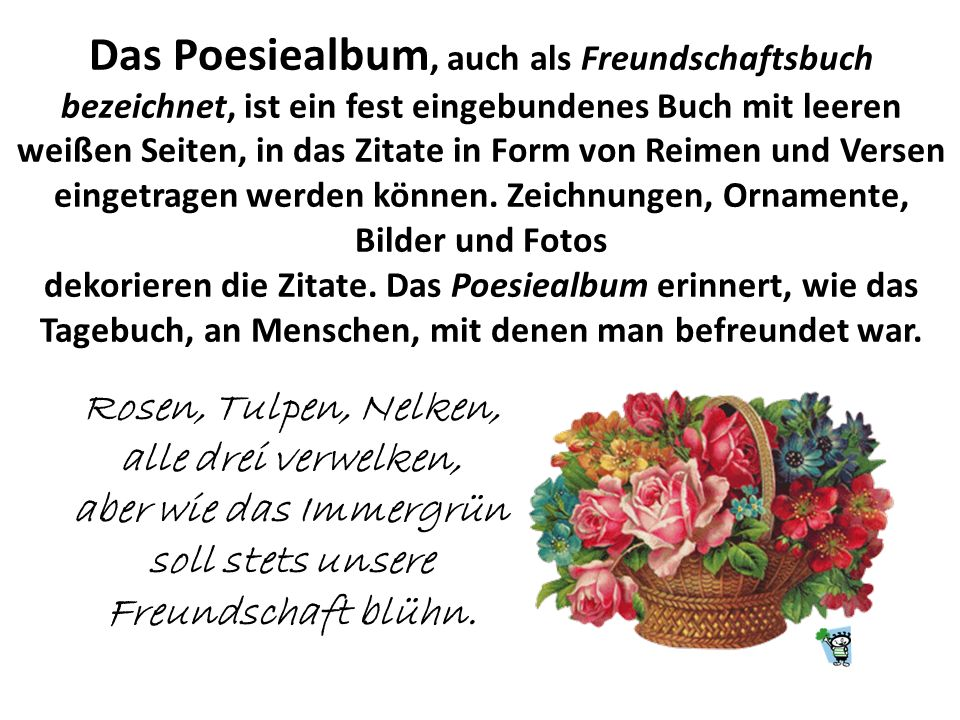 Das Poesiealbum, auch als Freundschaftsbuch
