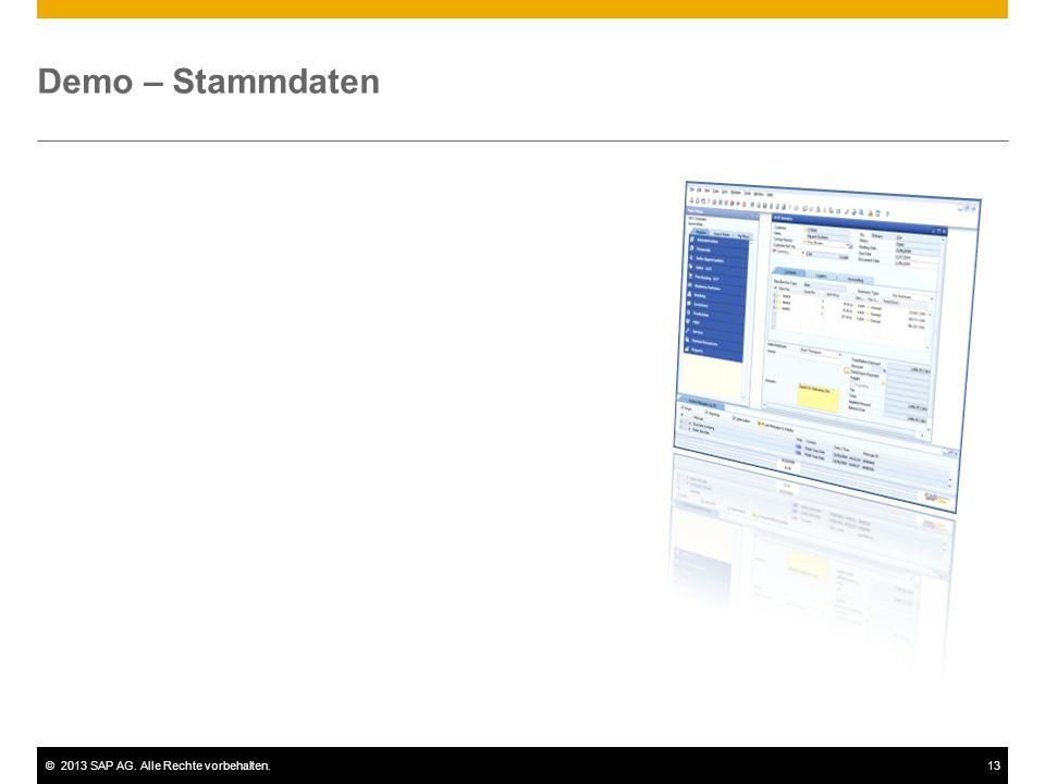 Demo – Stammdaten Im Folgenden werden die für viele Prozesse verwendeten Geschäftspartner-Stammdaten erläutert.