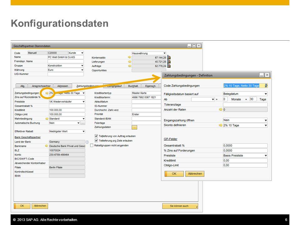 Konfigurationsdaten Einige der in den Stammdaten angezeigten Informationen stammen aus der Konfiguration.