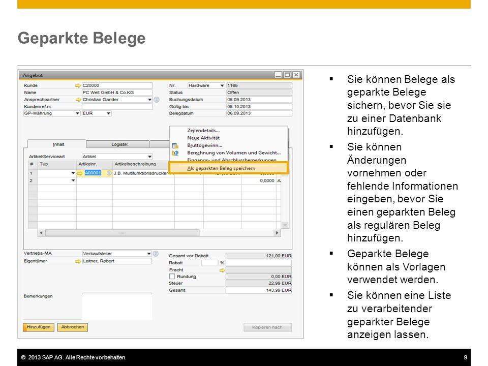 Geparkte Belege Sie können Belege als geparkte Belege sichern, bevor Sie sie zu einer Datenbank hinzufügen.