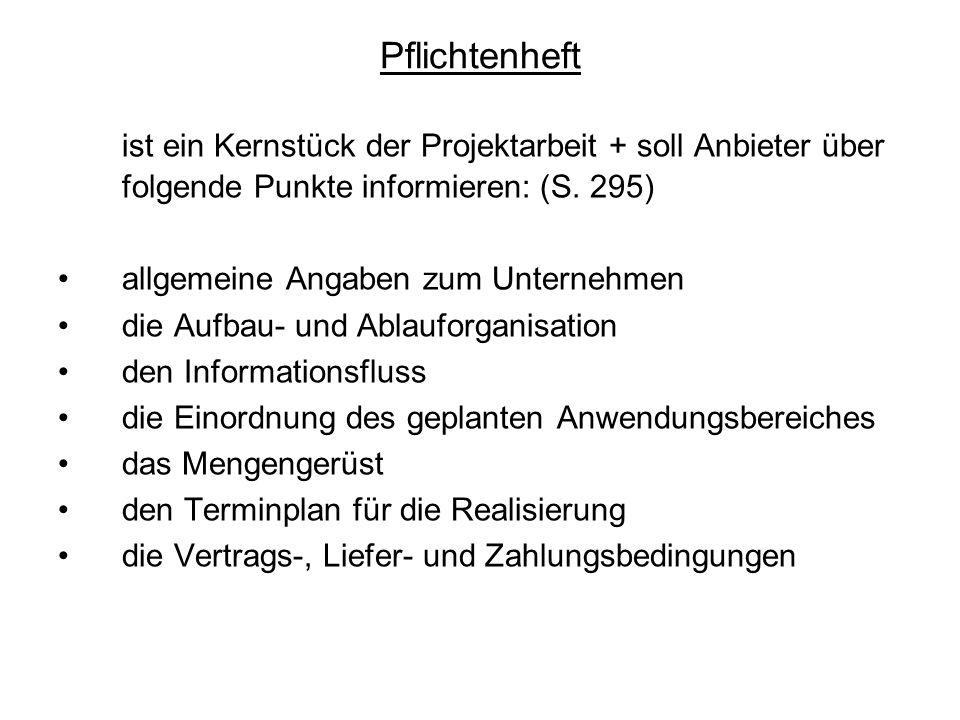 Pflichtenheft ist ein Kernstück der Projektarbeit + soll Anbieter über folgende Punkte informieren: (S. 295)
