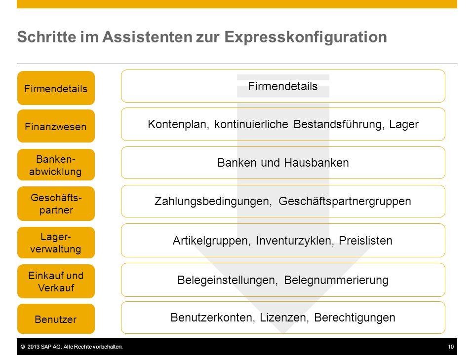 Schritte im Assistenten zur Expresskonfiguration