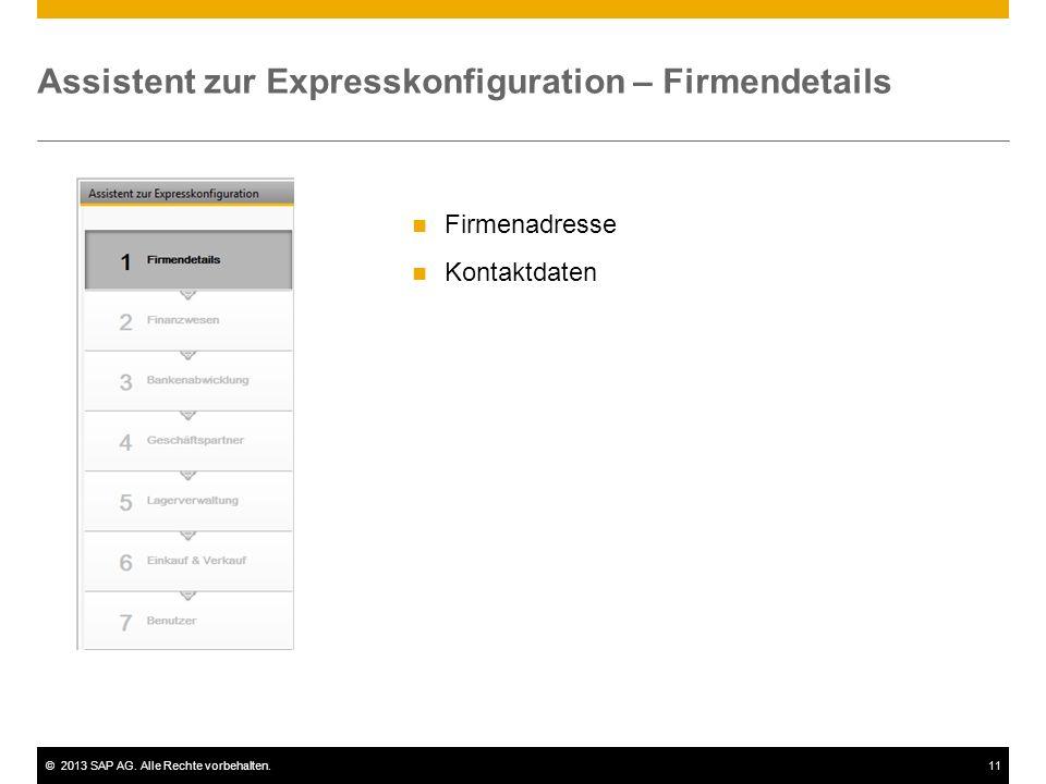 Assistent zur Expresskonfiguration – Firmendetails
