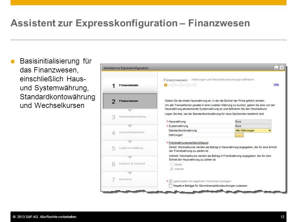 Assistent zur Expresskonfiguration – Finanzwesen