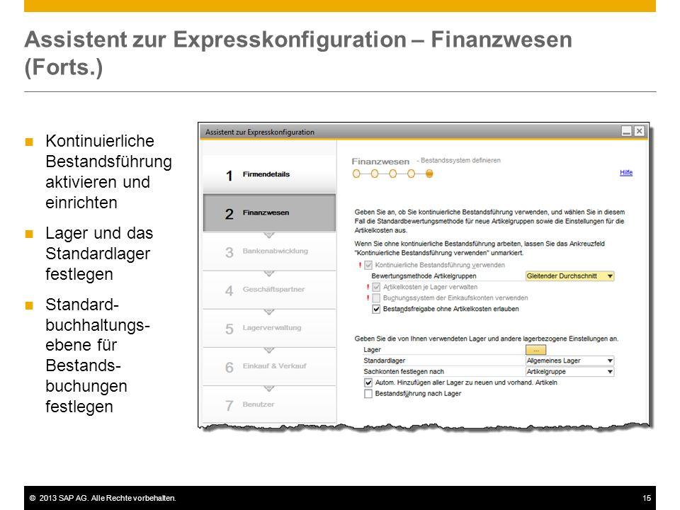 Assistent zur Expresskonfiguration – Finanzwesen (Forts.)