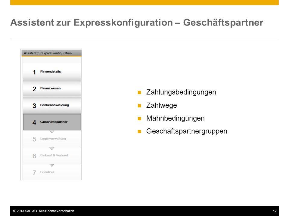 Assistent zur Expresskonfiguration – Geschäftspartner