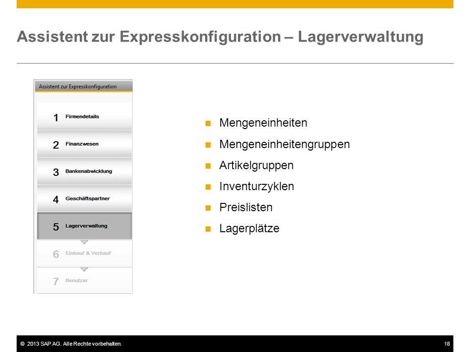 Assistent zur Expresskonfiguration – Lagerverwaltung