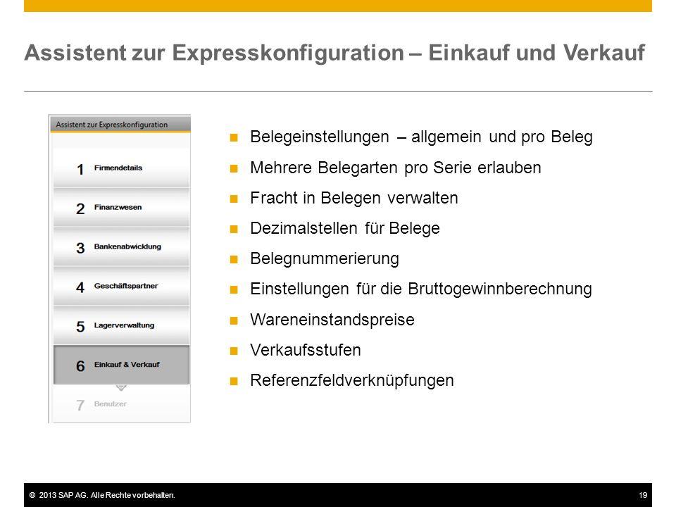 Assistent zur Expresskonfiguration – Einkauf und Verkauf