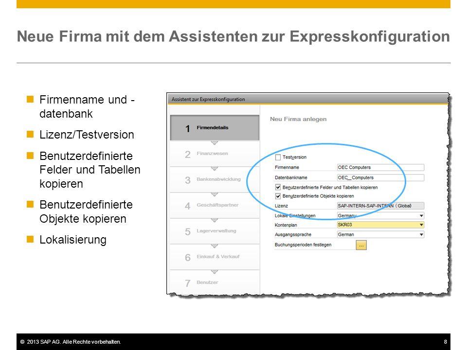 Neue Firma mit dem Assistenten zur Expresskonfiguration