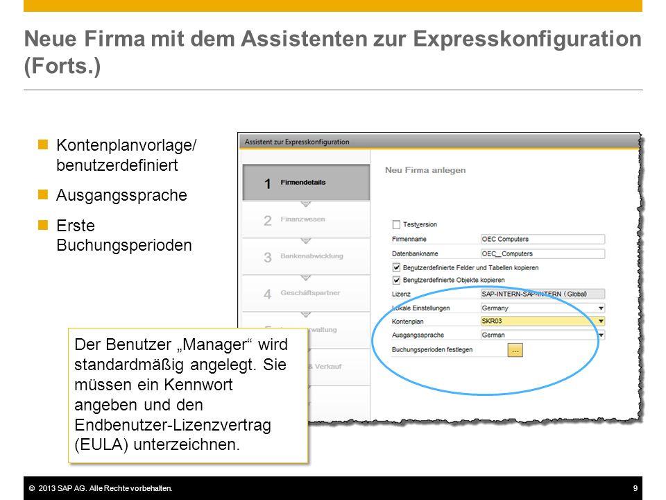 Neue Firma mit dem Assistenten zur Expresskonfiguration (Forts.)