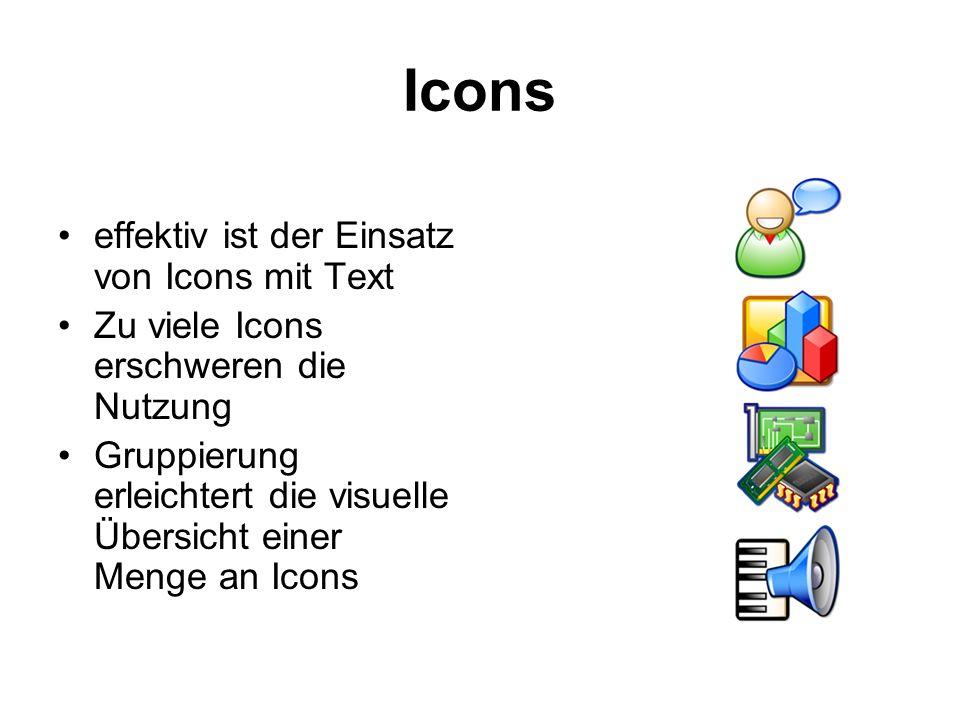 Icons effektiv ist der Einsatz von Icons mit Text