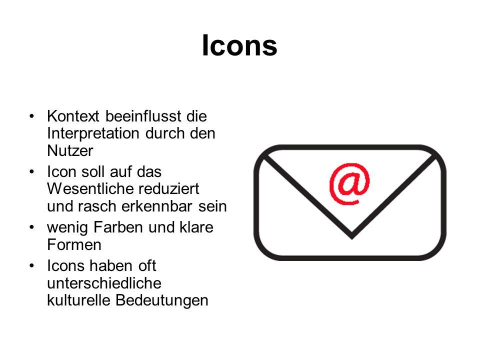 Icons Kontext beeinflusst die Interpretation durch den Nutzer