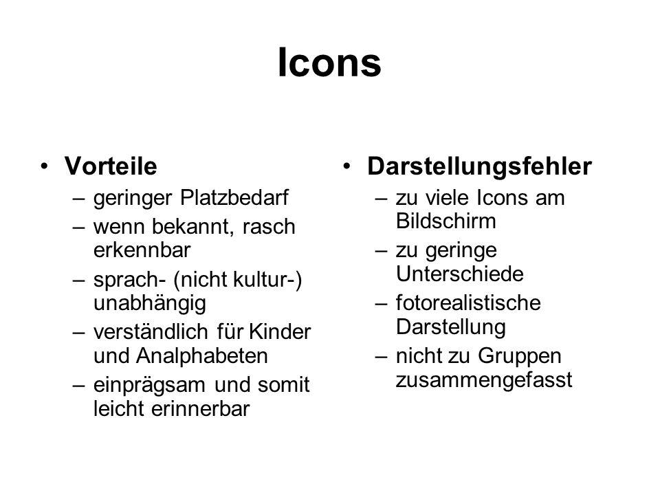 Icons Vorteile Darstellungsfehler geringer Platzbedarf