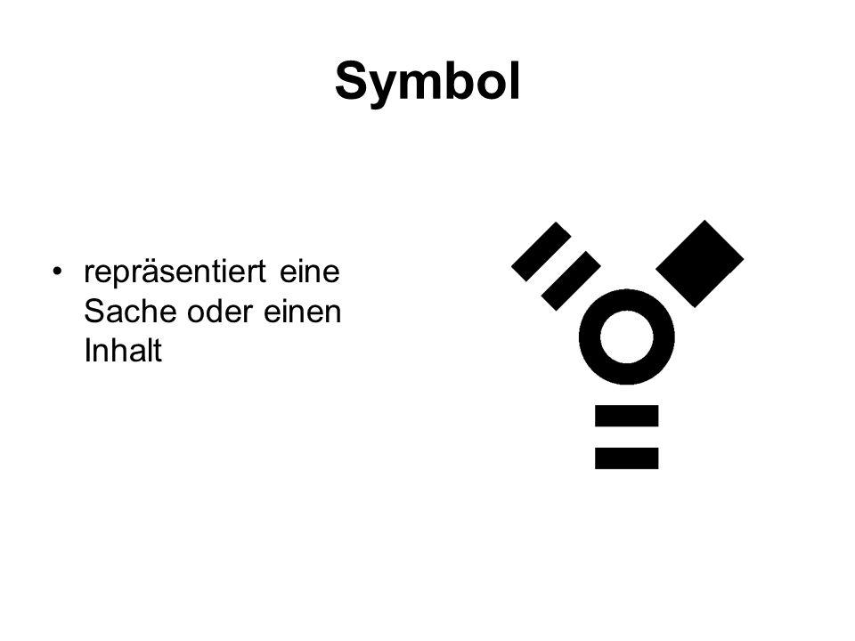 Symbol repräsentiert eine Sache oder einen Inhalt