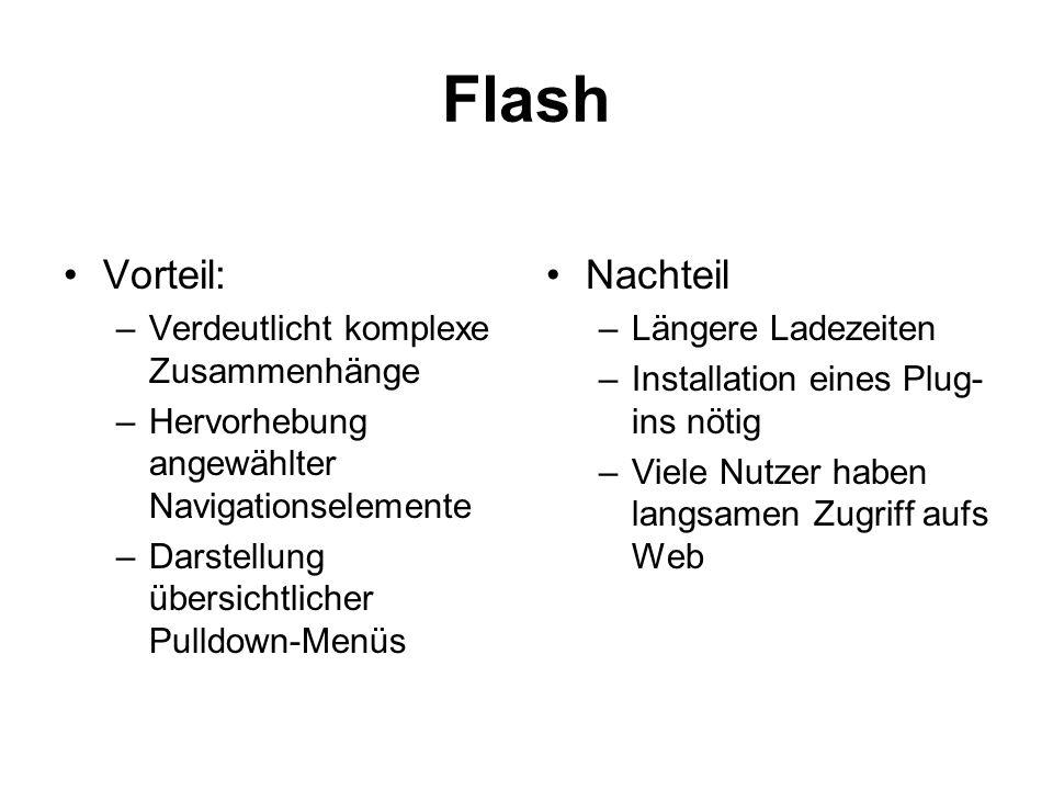 Flash Vorteil: Nachteil Verdeutlicht komplexe Zusammenhänge