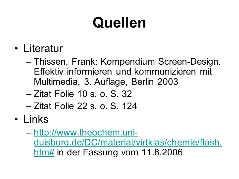 Quellen Literatur Links
