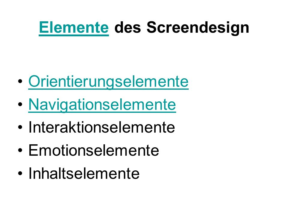 Elemente des Screendesign