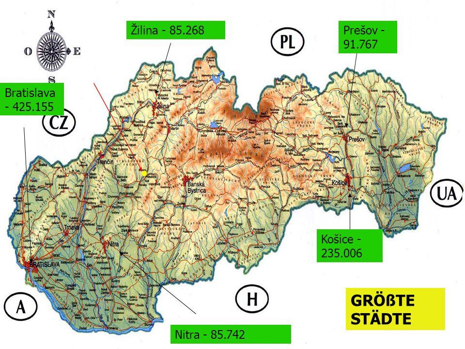 GRÖßTE STÄDTE Žilina - 85.268 Prešov - 91.767 Bratislava - 425.155