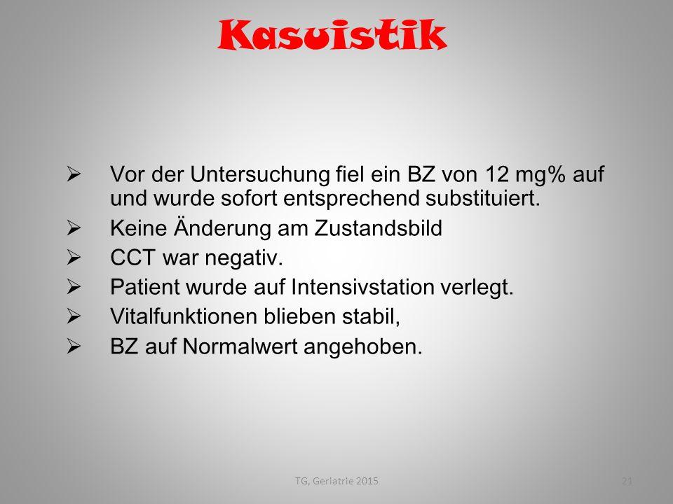 Kasuistik Vor der Untersuchung fiel ein BZ von 12 mg% auf und wurde sofort entsprechend substituiert.