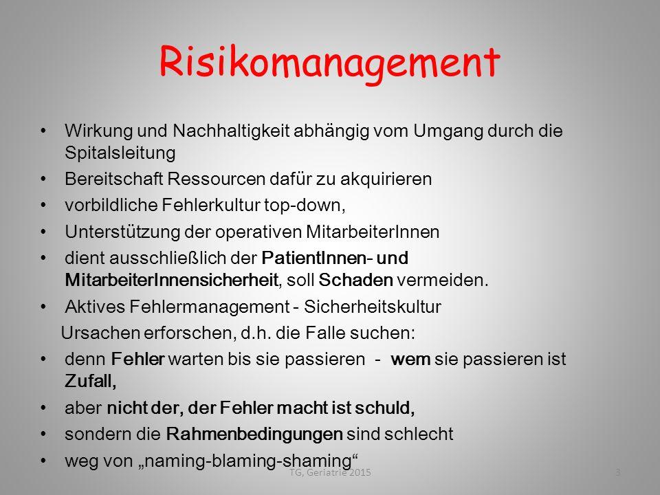 Risikomanagement Wirkung und Nachhaltigkeit abhängig vom Umgang durch die Spitalsleitung. Bereitschaft Ressourcen dafür zu akquirieren.