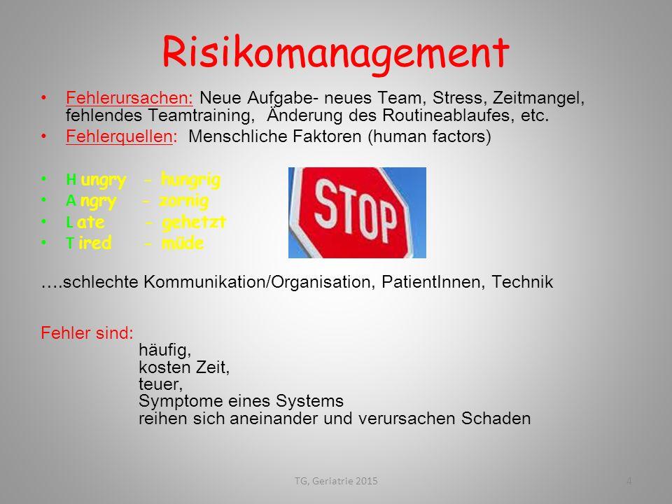 Risikomanagement Fehlerursachen: Neue Aufgabe- neues Team, Stress, Zeitmangel, fehlendes Teamtraining, Änderung des Routineablaufes, etc.
