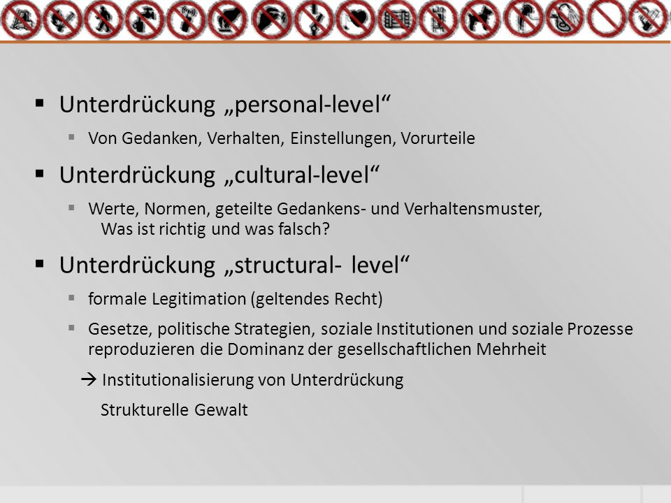 "Unterdrückung ""personal-level Unterdrückung ""cultural-level"