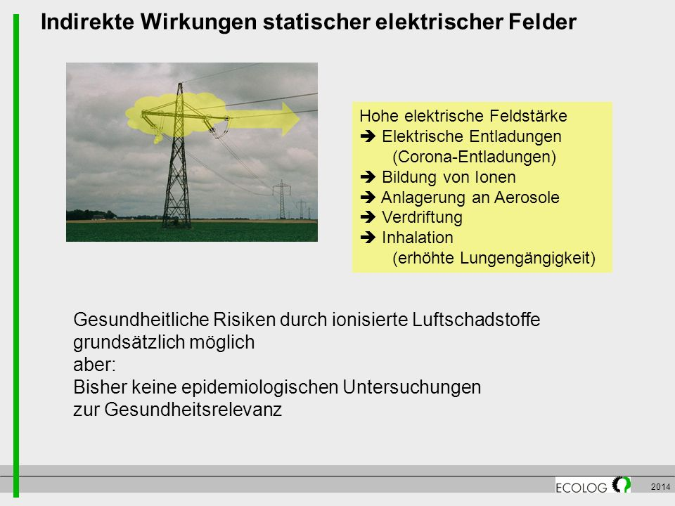 Indirekte Wirkungen statischer elektrischer Felder