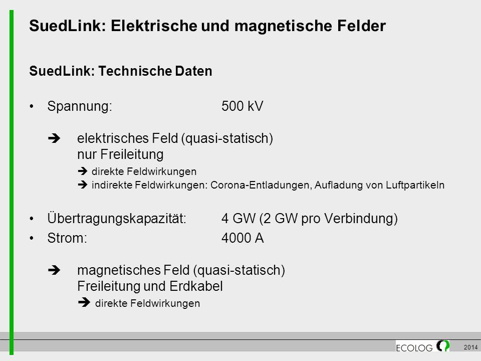 SuedLink: Elektrische und magnetische Felder