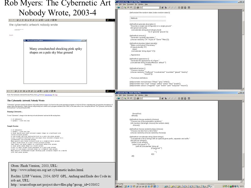 Rob Myers: The Cybernetic Art Nobody Wrote, 2003-4