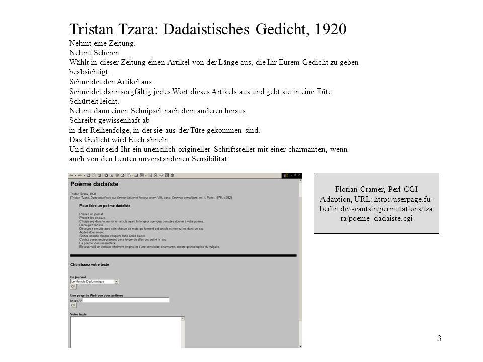 Tristan Tzara: Dadaistisches Gedicht, 1920