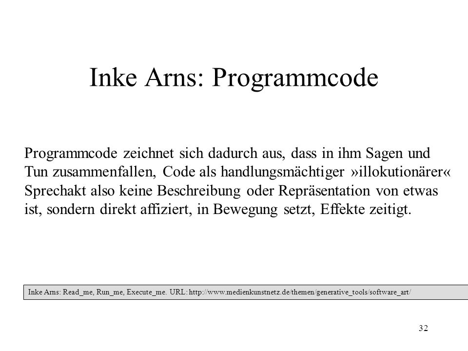 Inke Arns: Programmcode