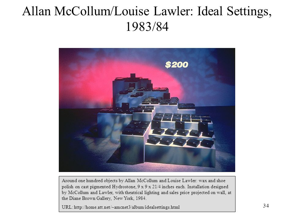 Allan McCollum/Louise Lawler: Ideal Settings, 1983/84