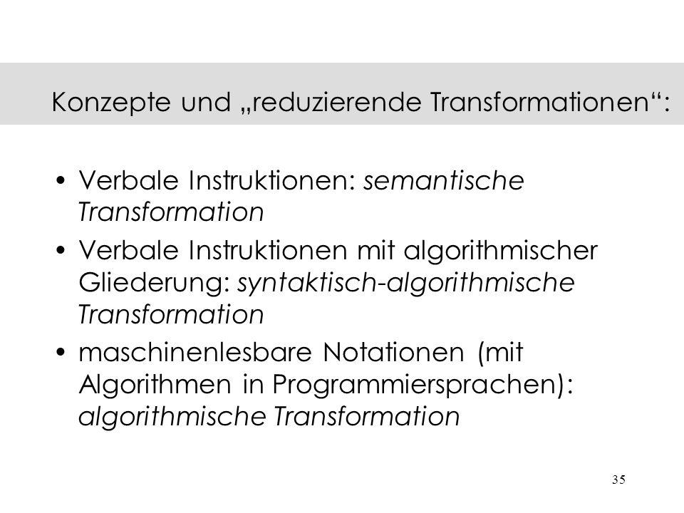 """Konzepte und """"reduzierende Transformationen :"""