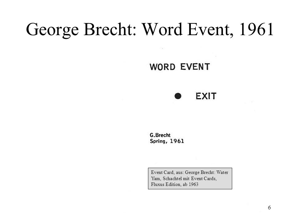 George Brecht: Word Event, 1961
