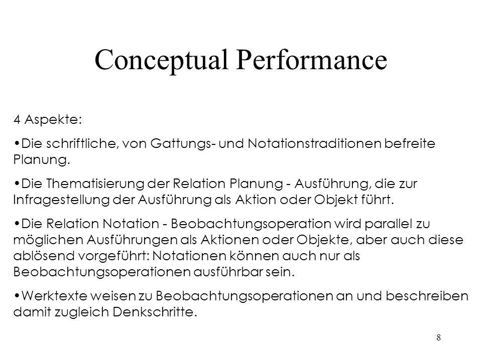 Conceptual Performance