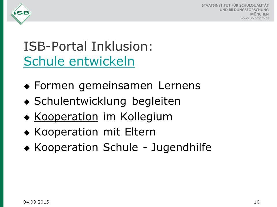 ISB-Portal Inklusion: Schule entwickeln
