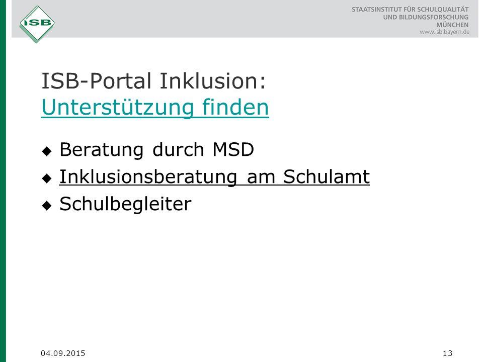 ISB-Portal Inklusion: Unterstützung finden