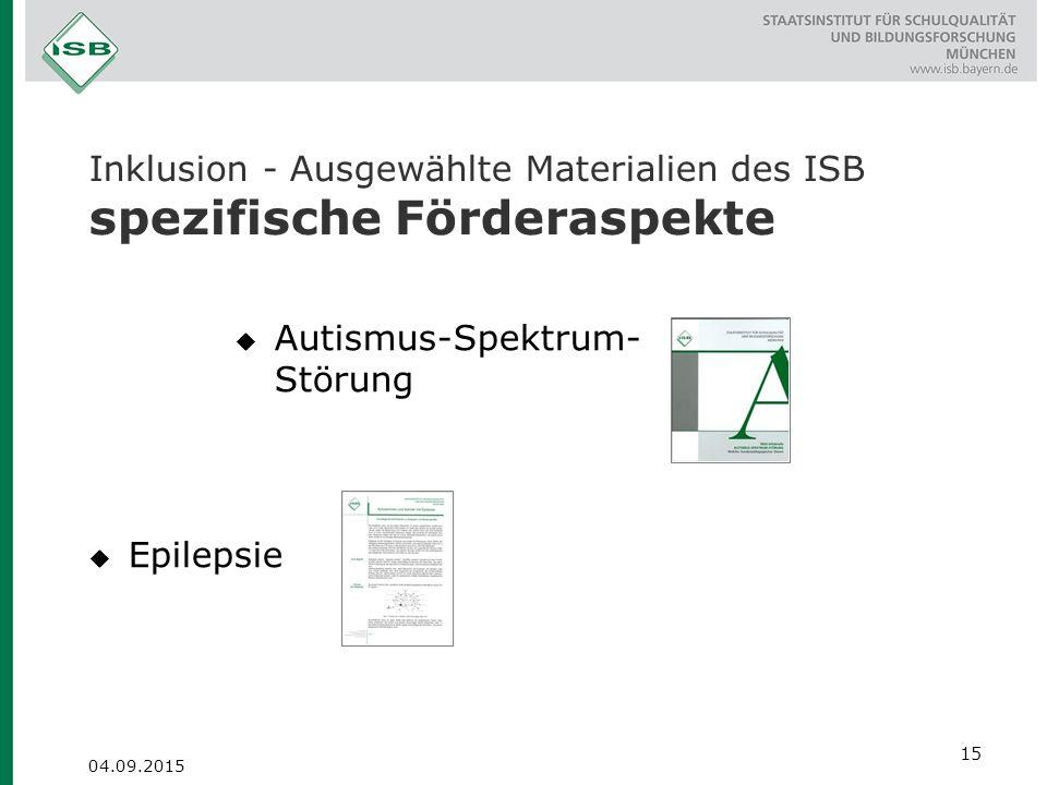 Inklusion - Ausgewählte Materialien des ISB spezifische Förderaspekte