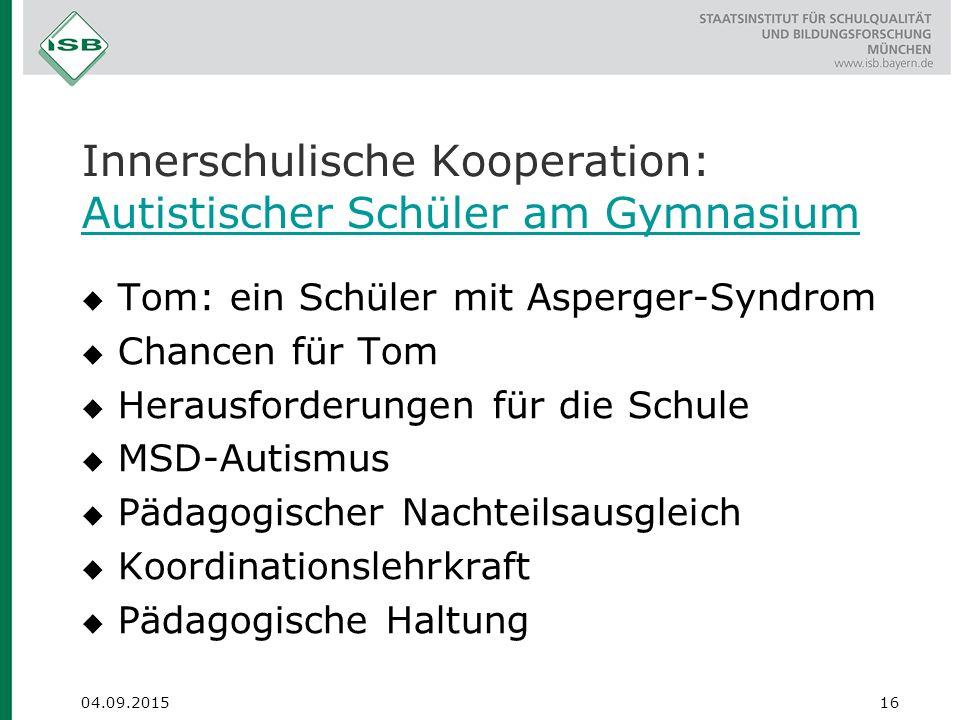 Innerschulische Kooperation: Autistischer Schüler am Gymnasium