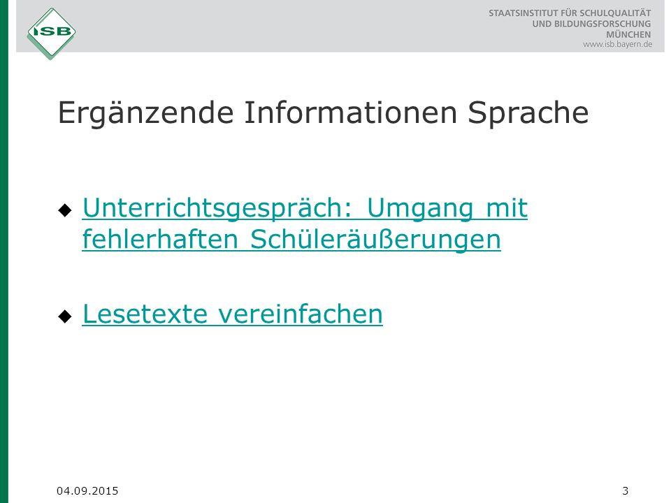 Ergänzende Informationen Sprache