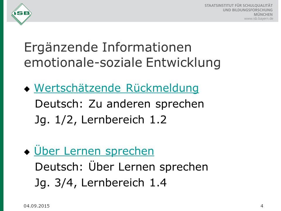 Ergänzende Informationen emotionale-soziale Entwicklung