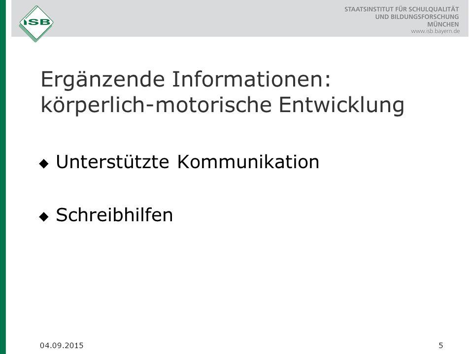 Ergänzende Informationen: körperlich-motorische Entwicklung