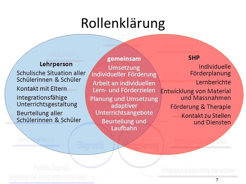 Rollenklärung SHP gemeinsam Individuelle Förderplanung