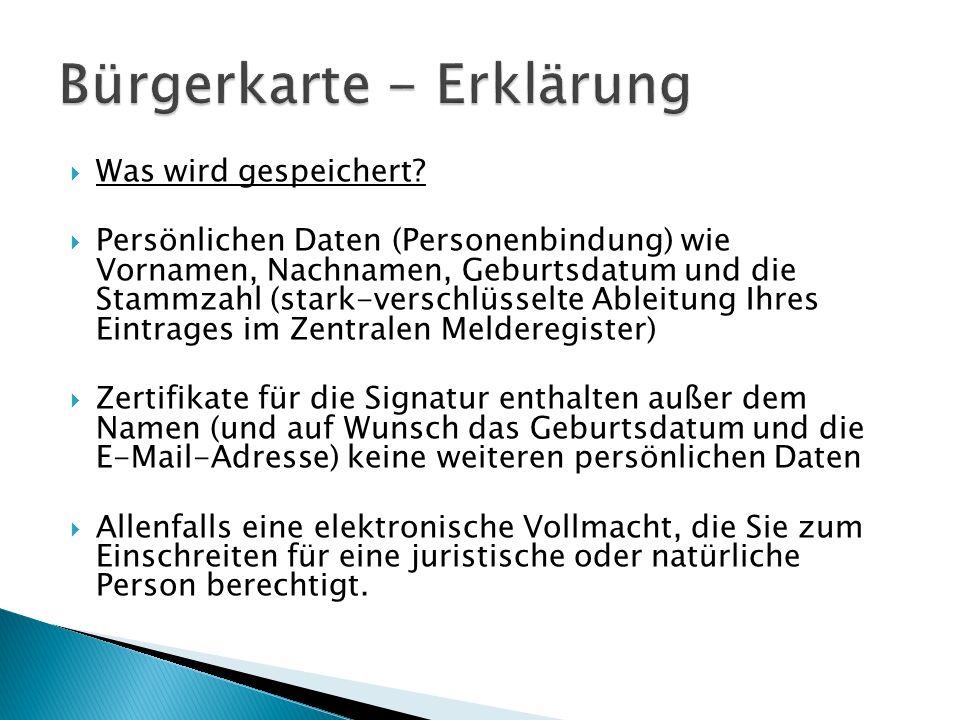 Bürgerkarte - Erklärung