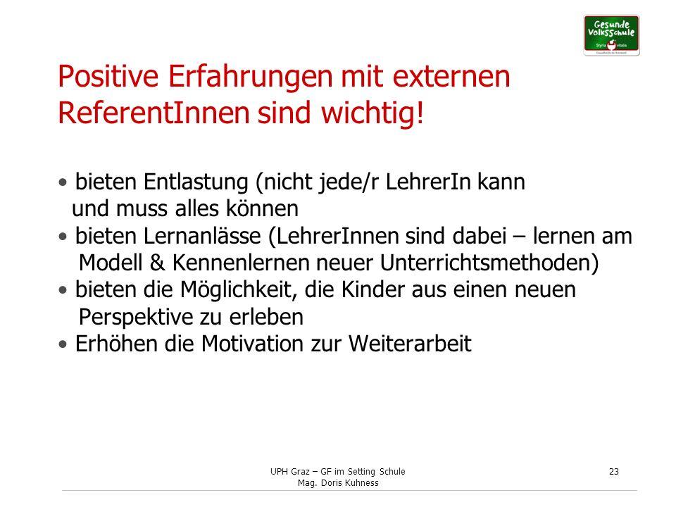 Positive Erfahrungen mit externen ReferentInnen sind wichtig!