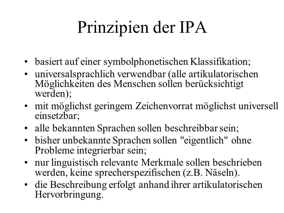 Prinzipien der IPA basiert auf einer symbolphonetischen Klassifikation;