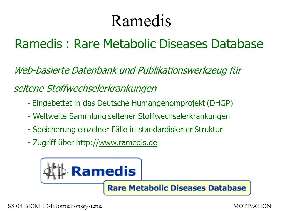 Ramedis Ramedis : Rare Metabolic Diseases Database
