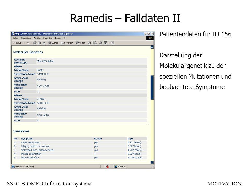 Ramedis – Falldaten II Patientendaten für ID 156