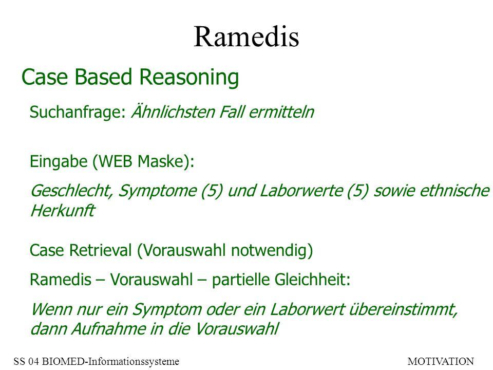 Ramedis Case Based Reasoning Suchanfrage: Ähnlichsten Fall ermitteln