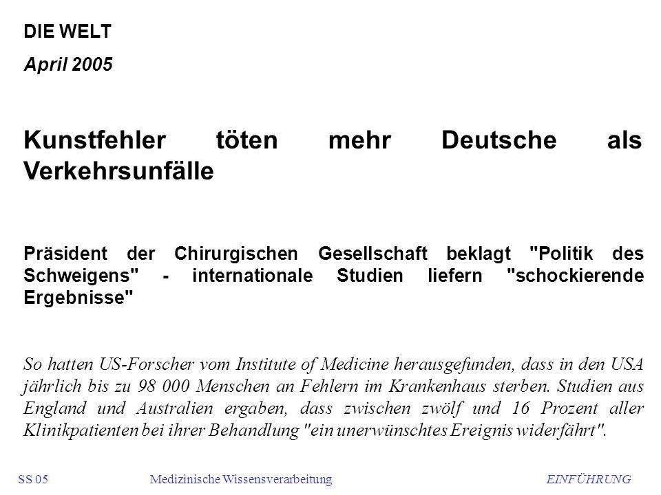 Kunstfehler töten mehr Deutsche als Verkehrsunfälle